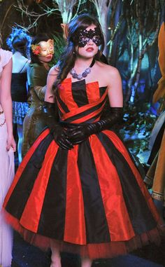 """ARIA'S BEST from Pretty Little Liars' Best and Worst Outfits of All Time """"I'm always blown away when we get to wear these custom-made dresses,"""" Lucy Hale gushes. """"We had the masquerade ball and [my dress] was inspired by Pink. Pink wore this red and black striped dress, so it was really fitted and then it went out, and they custom-made it. I felt like a modern day, edgy ballerina."""" Flaw. Less."""