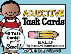 SCOOT! ADJECTIVES GAME! 72 TASK CARDS!!! A fun alternative to worksheets to review adjectives. SCOOT is an easy, fun, fast paced game that will get the kids up and moving around.Place a task card on each desk in numerical order. Each student will read the sentence and will write down the ADJECTIVE on their own recording sheet.