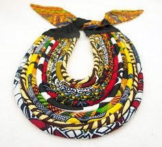 Kente & Wax Print Rope Necklace - African Kente Jewelry - African Kente Print…