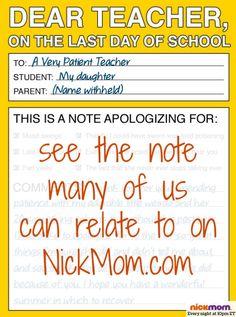 Dear Teacher, on the Last Day of School | More LOLs & Funny Stuff for Moms | @letmestart on @NickMom