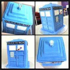Tardis cake, chocolate and vanilla layered sponge with white and dark chocolate ganache, decorated with fondant complete with working light. All by So Inspired.