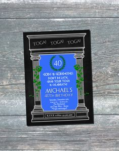 Fun and festive Toga Party invitation featuring ivy covered columns, a laurel wreath and blue background. Can be made for a Toga theme party or birthday party, and text can be changed to fit as needed. Toga Party Invitation, Toga Invitation, Toga Birthday Invitation, 40th Birthday Invitation, 30th Birthday, 50th Birthday, Digital Printable.