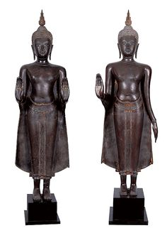 Tillou, Peter Works of Art - Pair of Standing Buddhas Standing Buddha Statue, Asian Decor, Samurai, Objects, Pairs, Samurai Warrior
