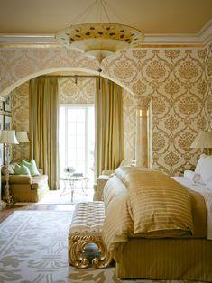 Elegant Bedroom love the wallpaper