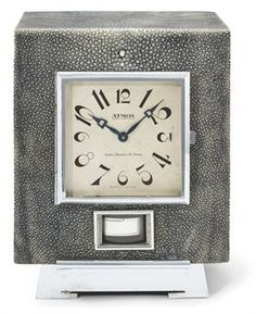chrome-plated, wooden and shagreen clock, circa 1935