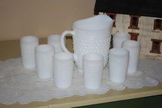 I NEED THIS SET!!!!!! Vintage FireKing Hobnail Milk Glass Pitcher and Tumbler Serving Set. Anybody? Anybody?