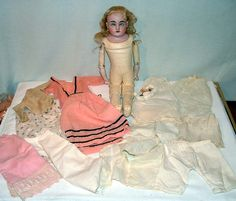 """1900s German Bisque Head Doll 18"""" w Leather Kid Body Vintage Outfits Nice   eBay"""