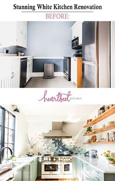 A before-and-after reveal of a modern u-shaped kitchen. Design ideas include open shelving, frameless window, white walls, and sage green shaker cabinets. Small Kitchen Renovations, Small Kitchen Appliances, Kitchen Remodel, Kitchen Small, Kitchen Redo, Kitchen Ideas, Modern U Shaped Kitchens, Cool Kitchens, Shaker Style Cabinets