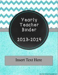 Turquoise Chevron Yearly Teacher Binder