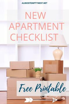 New Apartment Checklist: A complete FREE printable first apartment checklist of everything you need to move into your college apartment including apartment decorating. #almostemptynest #apartment College Apartment Checklist, First College Apartment, Free Printable, Everything, Graduation Ideas, Decorating, Adult Children, Logan, University