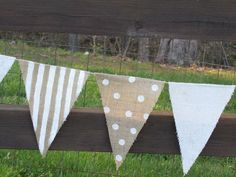 9 foot burlap Party Banner garland bunting pennant by funkyshique Pennant Flags, Bunting Garland, Flag Banners, Burlap Garland, Diy Bunting, Party Garland, Burlap Crafts, Diy Crafts, Cool Ideas
