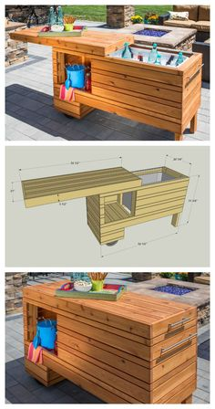 DIY Outdoor Serving Center :: FREE PLANS at buildsomething.com #woodworking (pallet deck furniture console tables)