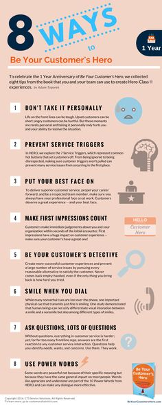 Customer Service Infographic: 8 Ways to Be Your Customer's Hero - Customer Servi. - Customer Service Infographic: 8 Ways to Be Your Customer's Hero – Customer Servi… - Self Service, Logo Service, Good Customer Service Skills, Customer Service Training, Excellent Customer Service, Customer Experience, Service Design, Service Ideas, Business Model