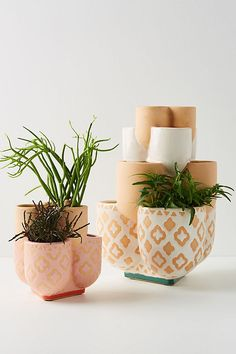 Inspired by the organic curves of strawberries, this charming earthenware pot features multiple, tiered compartments so you can showcase several plants at once. Basket Planters, Hanging Planters, Planter Pots, Strawberry Pots, Gardening, Garden Accessories, Earthenware, Garden Furniture, Outdoor Furniture
