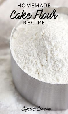 Homemade Cake Flour Recipe Learn how to convert all-purpose flour into cake flour + why cake flour makes cakes ultra light and fluffy Homemade Cake Flour Recipe, Cake Recipe With All Purpose Flour, All Purpose Flour Recipes, Homemade Vanilla Cake, Homemade Cake Recipes, Cake Mix Recipes, Frosting Recipes, Cupcake Recipes, Convert Cake Recipe To Cupcake