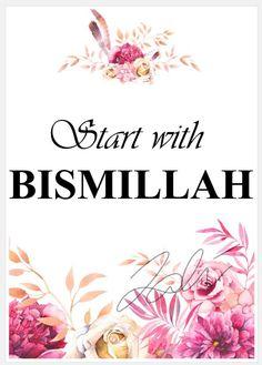 Start With Bismillah Floral Watercolour Poster – ArtByZakia Bismillah Calligraphy, Islamic Art Calligraphy, Allah Wallpaper, Islamic Quotes Wallpaper, Islamic Decor, Islamic Wall Art, Ramadan Poster, Islamic Cartoon, Islamic Posters
