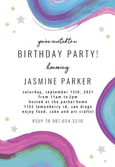 Colorful Paint Brushes - Birthday Invitation #invitations #printable #diy #template #birthday #party Free Birthday Invitations, Paint Brushes, Text Messages, Rsvp, Create Yourself, Arts And Crafts, Printables, Colorful, Island