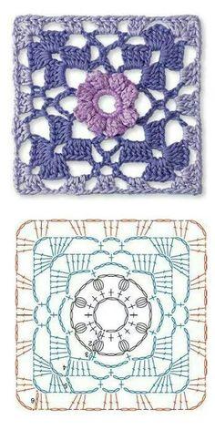 Transcendent Crochet a Solid Granny Square Ideas. Inconceivable Crochet a Solid Granny Square Ideas. Motifs Granny Square, Crochet Motifs, Granny Square Crochet Pattern, Crochet Blocks, Crochet Diagram, Crochet Chart, Crochet Squares, Granny Squares, Crochet Stitches