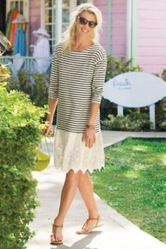 Left Bank Dress from Soft Surroundings  I like this dress without the horizontal strips.  Really cute and it looks comfortable.