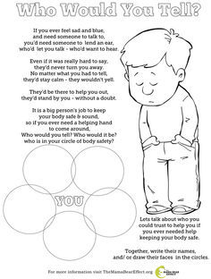 Who Would You Tell? Free coloring page to talk about body safety with kids and creating a circle of trusted adults that a child could talk to, if they ever need help.