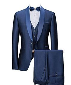 W:45 Drip-Dry New Style Blue Mens Suits Groom Tuxedos Groomsmen Wedding Party Dinner Best Man Suits jacket+pants+tie