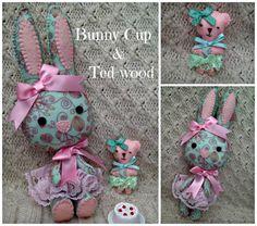 Felt Rabbit and Bunny Set  Bunny cup & by HarveyshouseCrafts