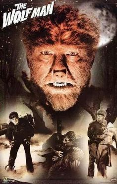 as The Wolfman (I remember watching this on B W film one summer at my grandparents; from that day forward I was in love with these monster movies. Sci Fi Horror Movies, Classic Horror Movies, Horror Movie Posters, Scary Movies, Old Movies, Horror Icons, Comedy Movies, Vintage Movies, Classic Monster Movies