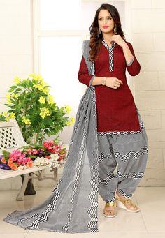 Printed Cotton Punjabi Suit in Maroon