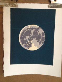 Lunar Blues Silkscreen Print by YouGuysMadeMeInk on Etsy, $35.00