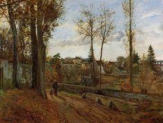 The Louveciennes Road, 1870 by Camille Pissarro. Impressionism. landscape. Private Collection