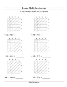 Best Amazing Speed Maths  Vedic Maths Benefits Images  Maths  Multiplication Worksheet  Lattice Multiplication  Fourdigit By  Fourdigit A