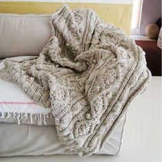 handknit cable throw.