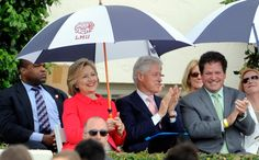 . Democratic presidential candidate Hillary Clinton with her husband and former President Bill Clinton along with Roger Clinton Jr., right, who\'s son Tyler Clinton graduated during the Loyola Marymount 2016 Commencement on the campus of Loyola Marymount University on Saturday, May 7, 2016 in Los Angeles.    (Photo by Libby Cline)