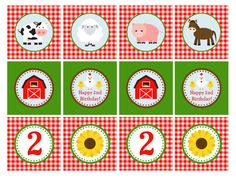 IMPRIMIBLES Farm Animal Cupcake Toppers 2 por GeminiCelebrations, $8.00