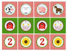 IMPRIMIBLES Farm Animal Cupcake Toppers 2 por GeminiCelebrations, $8.00