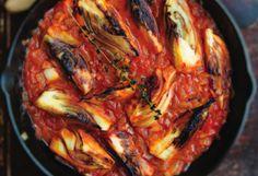 Braised Fennel, FoodRepublic (serve alongside seafood; fennel bulbs and seeds, oil, onion, saffron, thyme, garlic, tomato paste, fennel/chicken stock, butter, parsley)
