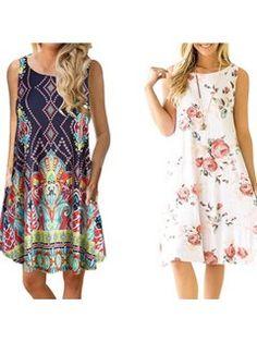Womens Summer Casual Sleeveless Floral Printed Swing Dress Sundress - Sleeveless Dresses - Ideas of Sleeveless Dresses Sun Dress Casual, Casual Summer Dresses, Casual Dresses For Women, Sundress Outfit, Polka Dot Summer Dresses, Sundresses Women, Dress Sewing Patterns, Swing Dress, Walmart
