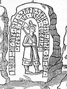 Hunnestad Stone before it was broken. Drawing from 1643 by Ole Worm, who is usually rather accurate in his drawings.