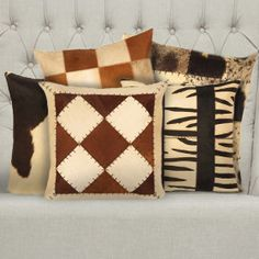 Argentinian Leather Cowhide Pillows    When it comes to both fashion and home decor, nothing beats the luxe look of genuine leather. These Argentinian Leather Cowhide Pillows are a great way to add a bit of rich texture and color to your room without breaking the bank.