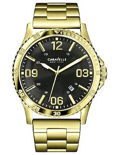 Caravelle New York Three-Hand Stainless Steel - Gold-Tone Men's watch #44B104
