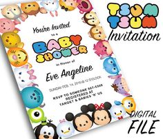 Tsum Tsum Theme Party Invitation * Custom Digital Invitation made to order * Draft will be sent to you for approval * Standard size is 5X7 unless otherwise requested * Instant download  * Please be sure to include the party details in the Note to Seller such as: 1. the childs first name, 2. the childs age, 3. the event date, 4. the event time, 5. the event address 6. the contact number for the RSVP 7. Registered Retailers optional     **DISCLAIMER: All copyrights and trademarks of the…
