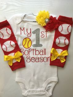 Baby Girl Softball Baseball Outfit My 1st Baseball by AboutASprout