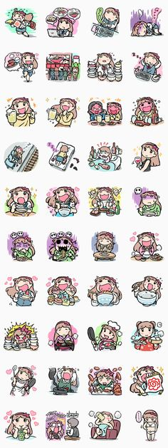 Food, food, glorious food! That's all that Munchy Mogumi thinks about! If you're the same then get this sticker set now! So... What shall we have for dinner!?