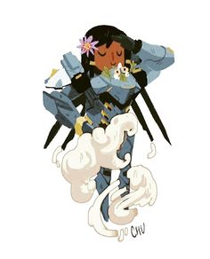 Drawing pharah was fun! Mercy put flowers on her