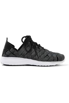 Nike - Juvenate Premium Faux Textured Leather-trimmed Woven Sneakers - Gray - Mens New Years Eve Outfit Grey Sneakers, Best Sneakers, Sneakers Fashion, Sneakers Nike, Nike Trainers, Black Nike Shoes, Nike Free Shoes, Gray Shoes, Black Nikes