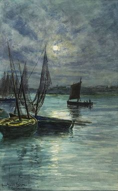 Concarneau in the Moonlight by Anna Maria Gardell-Ericson (1853 – 1939)