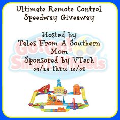 Ultimate RC Speedway by VTech Giveaway  Anything that goes vroom vroom has kids attention right away! This is a great play set from Go Go Smart Wheels Collection collection. You can add this to an existing set you have or use this as your starter set! Lots of fun for kids! VTech is sponsoring a giveaway for one lucky reader to win this great RC Speedway.   Giveaway open to ages 18+ and residents of the United States only and ends 10/08/2015.