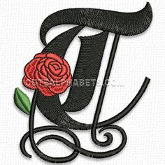 This free embroidery design is the letter T from the Gothic Rose Font.