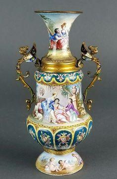 Magnificent Large Austrian Viennese Enamel on Silver Vase. Measures H: W: Urn Vase, Vases, Fine Art Auctions, Antique Lamps, Painted Signs, Silver Enamel, Tea Set, Porcelain, Bronze