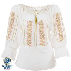 $84.20 A 100% hand made traditional blouse, exclusively tailored out of natural materials, such as white cotton, green, yellow, pink embroidery. Eminem, Natural Materials, White Cotton, Hand Embroidery, Label, Feminine, Blouses, Trends, Traditional